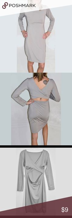 Long sleeve grey form fitting dress Rarely worn, flattering grey long sleeve fitted dress Dresses Long Sleeve