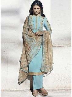 Sky Blue Colour Designer Embroidery Straight Cut Pakistani Salwar Kameez-1008-B