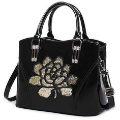 Sequin Flower Pantent Leather Handbag (51 BAM) ❤ liked on Polyvore featuring bags, handbags, leather handbag purse, man bag, leather purses, flower handbags and handbag purse