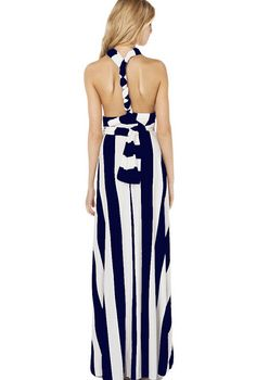 Buy Blue V Neck Striped Loose Maxi Dress from abaday.com, FREE shipping Worldwide - Fashion Clothing, Latest Street Fashion At Abaday.com