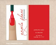 nail salon business cards, nail technician business cards