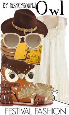 Disney Bound: Owl from Disney's Winnie the Pooh movies (Festival Fashion Outfit) Disney Themed Outfits, Disney Bound Outfits, Disney Dresses, Disney Clothes, Moda Disney, Estilo Disney, Disney Inspired Fashion, Disney Fashion, Character Inspired Outfits