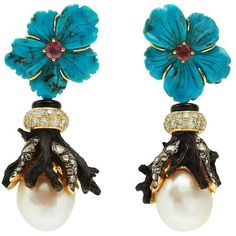 """Lotus Arts de Vivre earrings from the """"Flower"""" collection in 18-karat yellow gold with carved turquoise and pink tourmaline flowers, polished black wood branches, rose-cut diamonds, iced-diamond roundels and pearls./LotusArtsdeVivre/"""