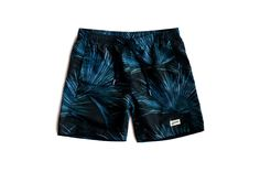 Blue Leaf Swim Trunks, swim, surf, menswear, tropical, bather, bathing suit, swimwear