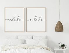 Inhale Exhale Wall Art, Above Bed Decor, Set of 2 Prints, Bedroom Signs, Scripture Wall Art, Black and White Poster Bedroom Signs, Bedroom Wall, Bedroom Decor, Wall Decor, Above Bed Decor, Art Above Bed, Nursery Prints, Nursery Wall Art, Wall Art Prints