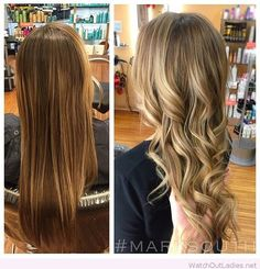 Amazing brown to blonde hair color before and after