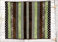 Adult Cuddle Strip Quilt Kit Olive/Brown