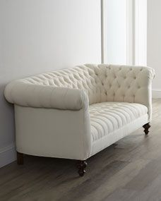 """Old Hickory Tannery """"Ellsworth"""" Neutral Tufted Sofa - traditional - Sofas - Horchow Furniture Making, Living Room Furniture, Home Furniture, Dining Rooms, Tufted Sofa, Sectional Sofa, Chesterfield Sofa, Couches, Home Design"""