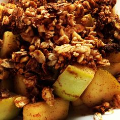 Healthy Apple Crisp. Quick, easy, under 200 calories and you probably have all the ingredients on hand!