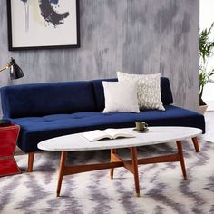 Reeve Mid-Century Oval Coffee Table - Marble Top | west elm