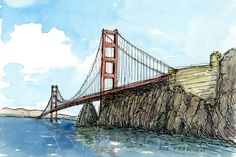 San Francisco Golden Gate Bridge art print from an original watercolor painting Puente Golden Gate, Bridge Drawing, Watercolor Paintings, Original Paintings, Art Minimaliste, Paris Wallpaper, San Francisco Art, Vintage Poster, Urban Sketchers