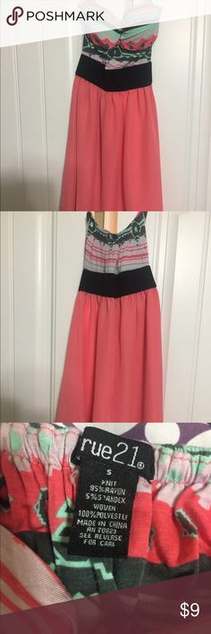 "Pink Rue21 strapless dress. Size Small. Pink and tribal-print strapless dress. From Rue21. Size Small. 26"" long. Rue 21 Dresses Strapless"