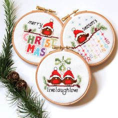 cross stitch christmas cards and ornaments 3 modern cute easy robin designs fun xmas craft cross stitch patterns pdf instant download - Cross Stitch Christmas Decorations