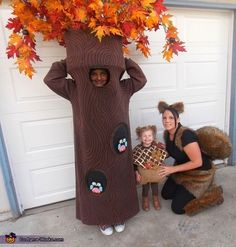 Tree, Acorn, and Squirrel - Homemade Halloween Costumes