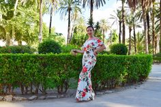 Holiday look long flower dress bodycon sexy tight off shoulder dress Sicily garden model instacontent Instagram content dress lovers colorful summery dress @alexandrina2910
