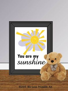 You are my Sunshine Quote Lyrics Print by WeLovePrintableArt, You are my Sunshine - Quote Lyrics Print, Printable Poster wall art decor poster digital typography Nursery Signs, Room Signs, Nursery Room, Printable Art, Printables, Sunshine Quotes, You Are My Sunshine, Quote Prints, Happy Thoughts