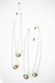 Laurel Hill for Mavenhaus Collective || Mini Arc Polished Bronze Necklace with Amazonite Stone