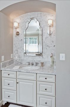 The Granite Gurus: Whiteout Wednesday: 5 White Bathrooms with Marble