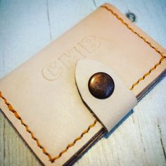 Handmade Leather Card Wallet  Personalised by WightIslandTreasures