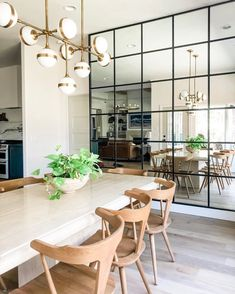Really loving how the mirror wall in this dining space by makes the area look twice its size! Dining Room Mirror Wall, Dining Room Walls, Dining Room Design, Dining Area, Mirror Walls, Entry Mirror, Kitchen Table Chairs, Ikea Mirror, Window Mirror