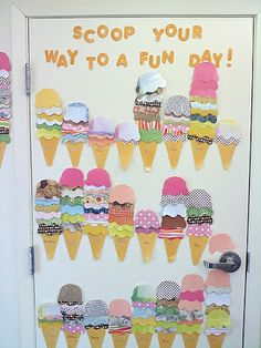 Such a cute idea for tracking reading goal. However I think it might work better space-wise to line them up side by side. Add a scoop for 20 mins read. Ice cream party when everyone makes at least 7 scoops. small prizes for certain marks. Ar Reading, Reading Goals, Reading Challenge, Teaching Reading, Reading Display, Teaching Tips, Ar Goals, Reading Incentives, Goal Tracking