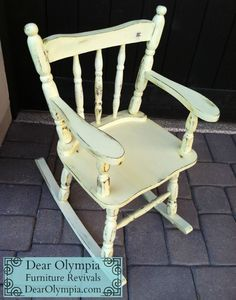 Antique Child Rocking Chair In Cece Caldwell Carolina Sun Yellow