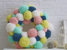 How to Make a Spring Pom Pom Wreath is part of Make An Easy Colorful Pom Pom Wreath For Spring Sparkles Of Give a warm welcome this Spring with a cheerfully pastel pom pom wreath The pom pom trend - Diy And Crafts Sewing, Crafts To Sell, Diy Crafts, Crafts For Teens, Hobbies And Crafts, Beige Rose, Pom Pom Kranz, Clover Pom Pom Maker, Pom Pom Wreath
