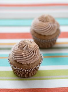 Cinnamon Churro Cupcakes stuffed with spiced Mexican Chocolate Pudding and topped with Chocolate Whipped Cream