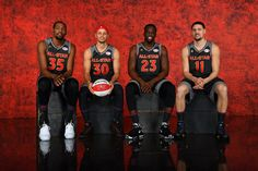 Stephen Curry, Draymond Green, Klay Thompson, Kevin Durant and coach Steve Kerr of the Golden State Warriors at the 2017 NBA AllStar Game at Smoothie King Center on February 19 2017 in New Orleans.