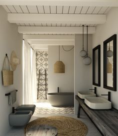 Modern and elegant bathroom furnished with CIELO's Shui Comfort collection…