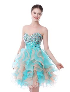 Luxurious Organza and Satin Hit Color Mini Homecoming Dress