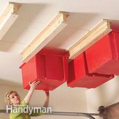 Garage Storage Hang storage bins from the ceiling