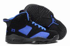 1046a7d7bcb1b7 New Nike Air Jordan 6 VI Retro Kids Shoes Black Blue Air Jordan Vi