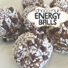 Choco-nut Energy Balls shared by nikkiloufitness! 1 1/4 cup gluten free oats, 2/3 cup honey, 2/3 cup almond butter, 2 scoops chocolate Perfect Fit Protein, and 1/3 cup coconut oil. Mix all ingredients together then form into balls. Roll in cacao nibs & unsweetened shredded coconut. Place in refrigerator for at least 30 minutes to let set.