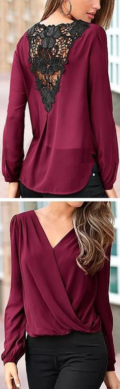 Wine Lace Back Blouse ❤️︎ Beautiful color, and it looks conservative enough that you can wear a normal bra beneath...