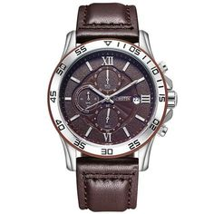 Fashion Casual Chronograph Watches Men Top Brand Luxury Male Waterproof Leather Quartz Wristwatches Men Clock montre homme