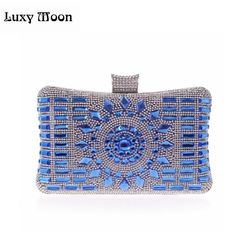 16.49$  Watch now - http://ali9k4.shopchina.info/go.php?t=32371869875 - New 2015 glass diamond silver evening bags top quality gold clutch bag elegant blue bag party wedding bridal purse w641 16.49$ #magazineonline