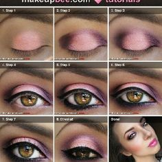 Pink and purple smoky eye. Great colors for hazel eyes.