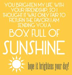 Free Printable to go with Box of Sunshine gift.