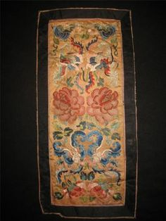 ANTIQUE 19th QING CHINESE EMBROIDERED SILK PANEL FLOWERS BUTTREFLY EMBROIDERY