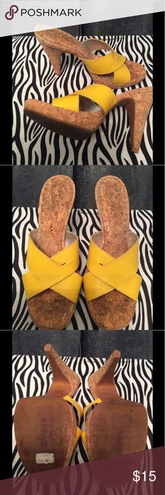 Gianni Bini Yellow and Cork Heels Leather upper, man made sole, man made lining, made in Brazil. Worn a few times, good condition. The heel and sole are made of a cork material. Cute for the summer. Gianni Bini Shoes Heels