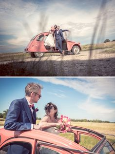 Voiture de mariage 2CV rose | Mariages Cools Mariage | Queen For A Day - Blog mariage  Lydia + Ed