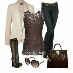 Love everything about this look. At least half of my casual outfits dressy casual like this. I don't have very many casual blazers. Mode Outfits, Fall Outfits, Casual Outfits, Fashion Outfits, Womens Fashion, Fashion Trends, Fashion Ideas, Office Outfits, Heels Outfits