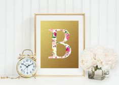 Pink, Peach, Mauve Floral Monogram, Gold, Custom Nursery Monogram Print, Personal HomePrintable, Coral and Mint Nursery, Gray Frames Digital