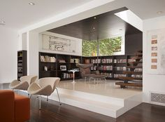 Elevated floor creates organized space without walls