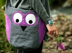 Owl messenger bag in gray purplemade to order by ritaboth121, $59.00