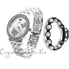 Ceas de dama Jessy Butterfly cu cristale Swarovski - Crystal Glamour Swarovski, Bracelet Watch, Glamour, Watches, Bracelets, Accessories, Fashion, Wrist Watches, Charm Bracelets