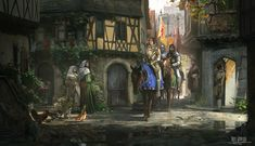 Defender of the Realm by RhysGriffiths knight prince soldier peasant commoner chickens town square city street Fantasy city Fantasy landscape Fantasy pictures