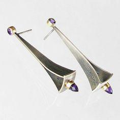 Silver and purple earrings, modern art jewelry earrings by Jude Clarke