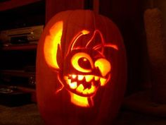 Home Decor & Accessories. Outstanding Halloween Pumpkin Carving Ideas With Stitch Pumpkin Face And Charming Lighting Inspiration. 25 Attractive Halloween Pumpkin Carving Ideas For You Disney Pumpkin Carving, Halloween Pumpkin Carving Stencils, Amazing Pumpkin Carving, Scary Pumpkin, Halloween Pumpkins, Pumpkin Ideas, Creative Pumpkin Carving Ideas, Cool Pumpkin Designs, Disney Pumpkin Stencils